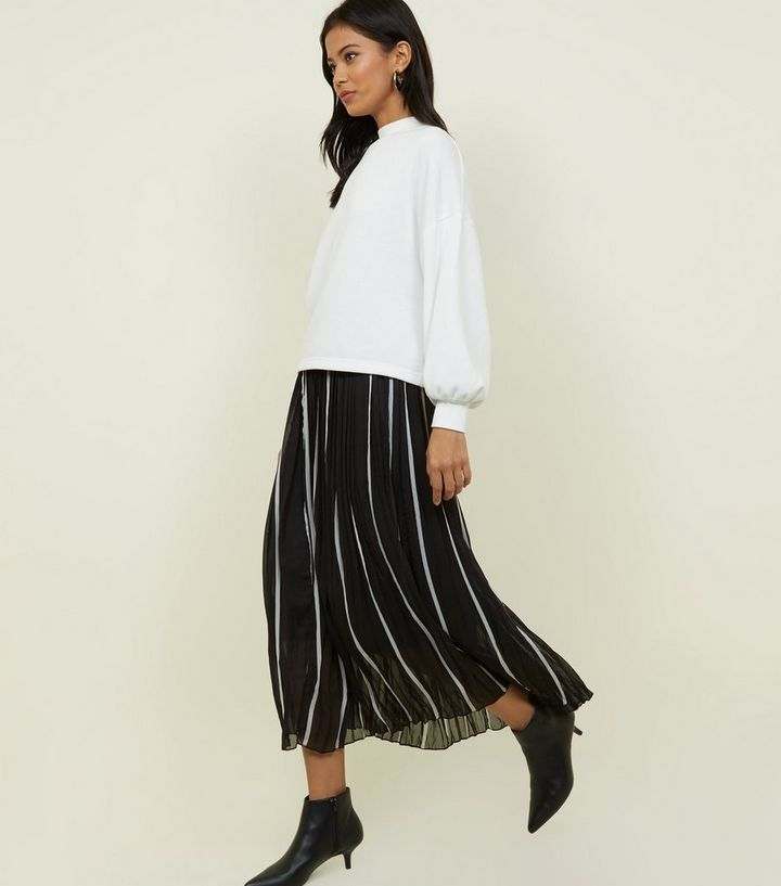 5ee691305 QED Black Stripe Pleated Chiffon Midi Skirt | New Look