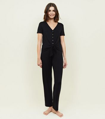 Black Button Front Joggers Pyjama Set by New Look
