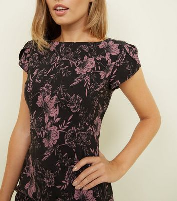 Apricot Black Floral Boat Neck Dress New Look