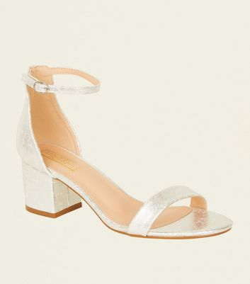 Silver Shimmer Low Block Heel Sandals by New Look