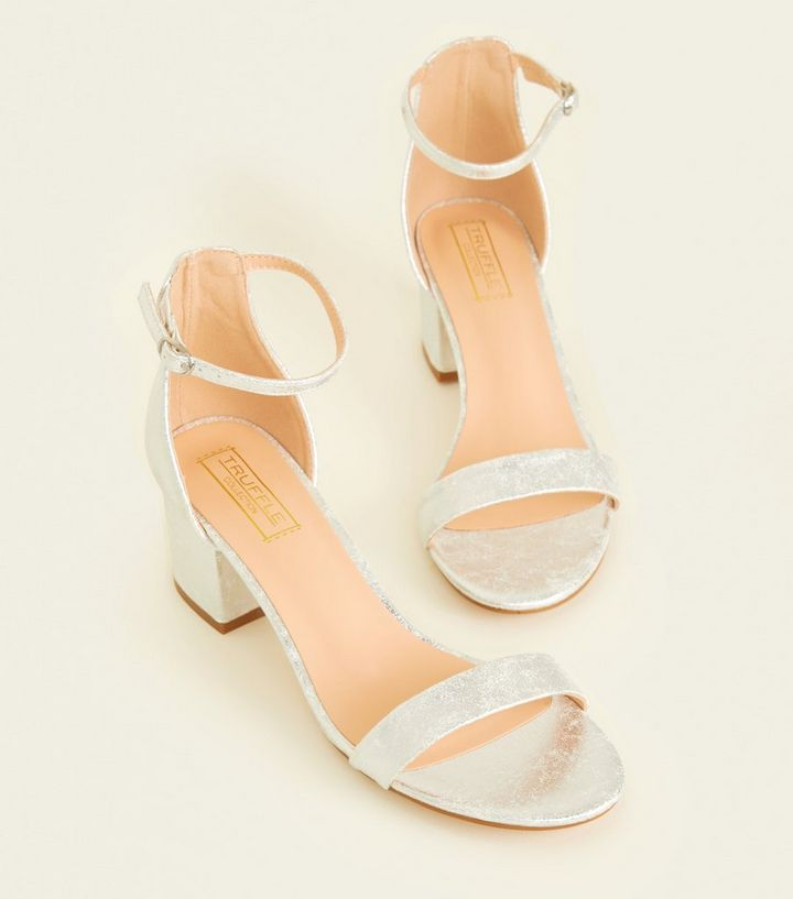 7c96f266fd5 Silver Shimmer Low Block Heel Sandals Add to Saved Items Remove from Saved  Items