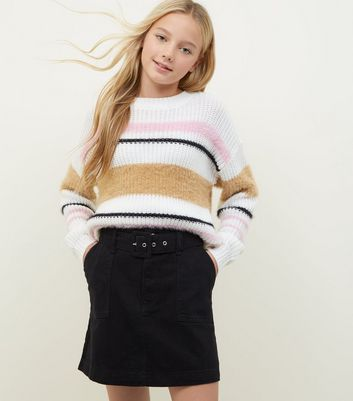 Girls Black Belted Denim Utility Skirt