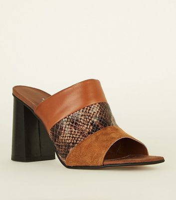 Tan Premium Leather Faux Snake Panel Mules