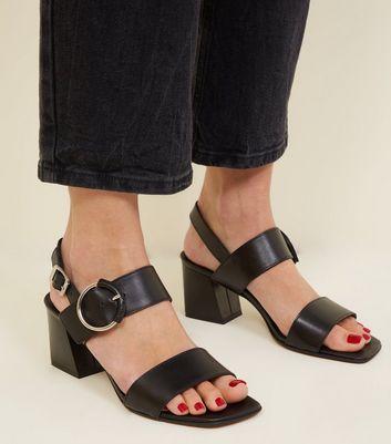 En Parties New Premium Deux À Chaussures Blocs Noir Talons Cuir qUPtpB