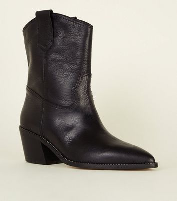 Black Premium Leather Stitched Western Boots