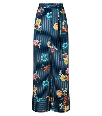 Cameo Rose Blue Stripe Floral Trousers New Look