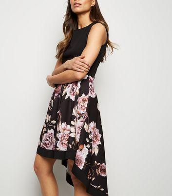 Mela Black Floral Skirt Dip Hem Dress New Look