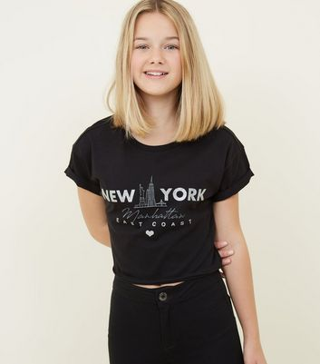 Girls Black Glitter New York Slogan T-Shirt