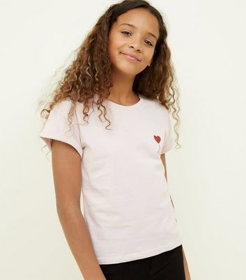 Girls Pink Glitter Balloon Heart T-Shirt