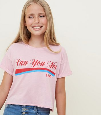 Girls Pale Pink Can You Not Slogan T-Shirt
