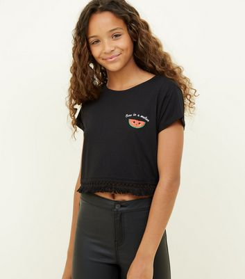 Girls Black Watermelon Tassel Trim T-Shirt