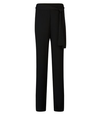 Cameo Rose Black Pleated Tie Waist Trousers New Look