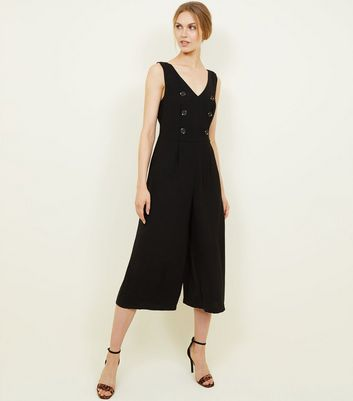 Black V-Neck Double Breasted Culotte Jumpsuit