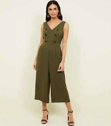 Khaki V-Neck Double Breasted Culotte Jumpsuit