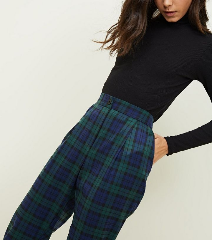 Green And Blue Check Tapered Trousers New Look