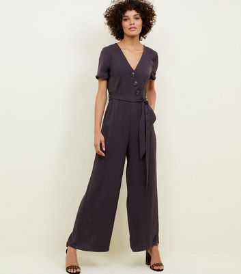 Grey Diagonal Button Front Wide Leg Jumpsuit
