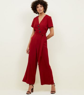 Dark Red Diagonal Button Front Wide Leg Jumpsuit