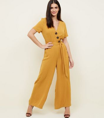 Mustard Diagonal Button Front Wide Leg Jumpsuit