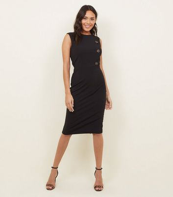 Black Button Side Midi Shift Dress