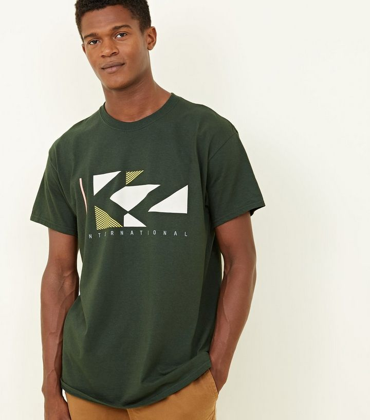 a8008a259 Dark Green KZ Geometric Graphic Print T-Shirt | New Look
