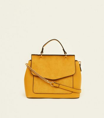 Mustard Suedette Panel Top Handle Bag
