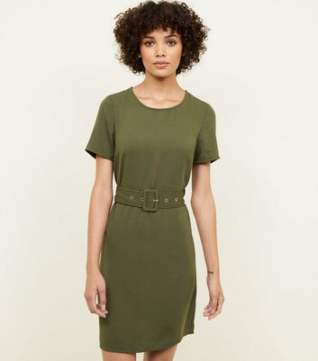 Khaki Belted Tunic Dress