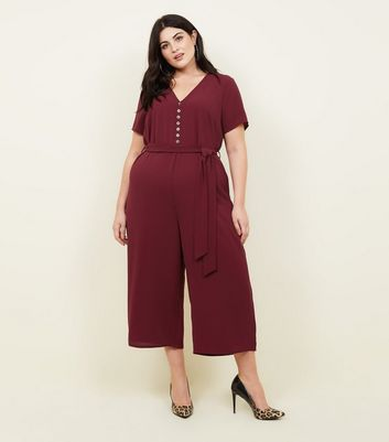 Curves Burgundy Button Front Culotte Jumpsuit