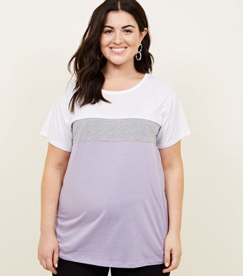 Curves Lilac Colour Block T-Shirt