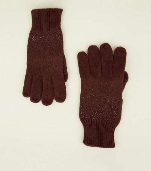 0d8864fcf7c ... Burgundy Gem Split Finger Touch Screen Gloves ...