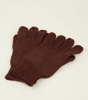 Burgundy Gem Split Finger Touch Screen Gloves New Look