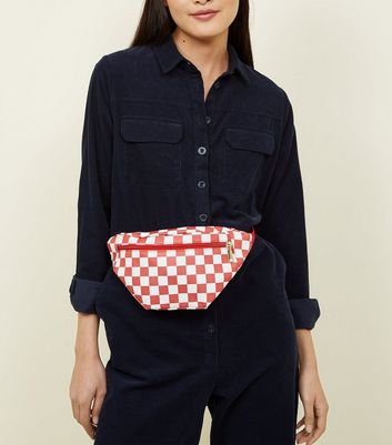 Red Leather-Look Checkerboard Bum Bag