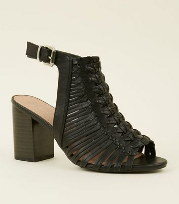 Wide Fit Black Leather-Look Woven Block Heels