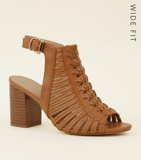ece6728a4d7d ... Wide Fit Tan Leather-Look Woven Block Heels ...