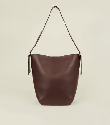 Dark Brown Buckle Strap Hobo Bag