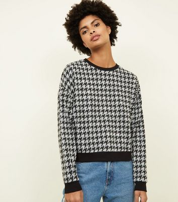 Black Brushed Houndstooth Check Fine Knit Top