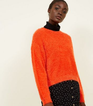 Orange Long Sleeve Fluffy Jumper