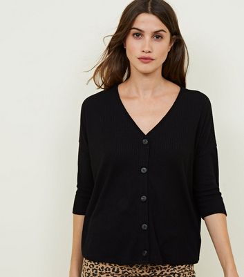 Black Ribbed Fine Knit Button Front Top