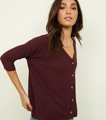 Burgundy Ribbed Fine Knit Button Front Top