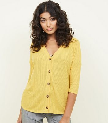 Mustard Ribbed Fine Knit Button Front Top