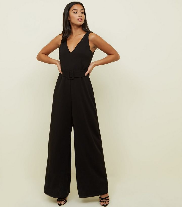 2afed04dc64fd0 Petite Black Belted Wide Leg Jumpsuit | New Look