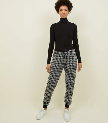 Black Houndstooth Fine Knit Joggers