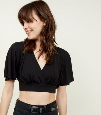 Black Cape Sleeve Crop Top