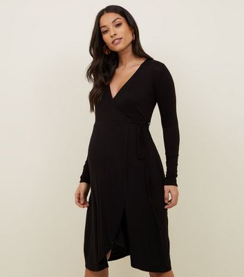 Maternity Black Wrap Front Dress