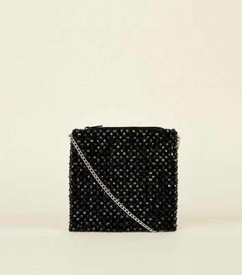 Black Beaded Square Cross Body Bag