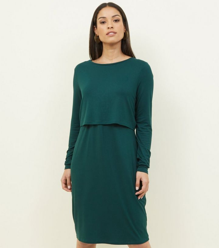 fced96e91bf Maternity Dark Green Long Sleeve Layered Nursing Dress