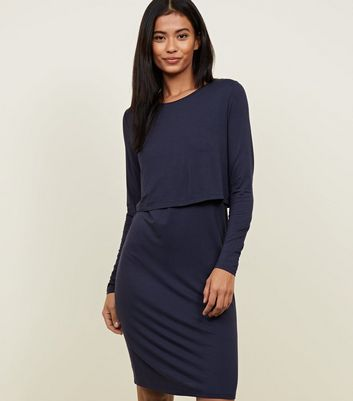 Maternity Navy Long Sleeve Layered Nursing Dress