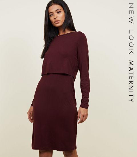 5ac36c42d4e ... Maternity Burgundy Long Sleeve Layered Nursing Dress ...