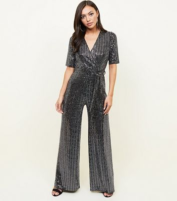 Silver Mirrored Sequin Wrap Jumpsuit