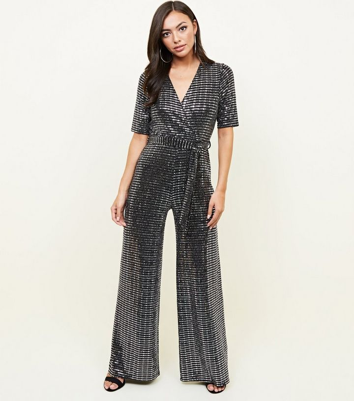8fe3f208ef7 Silver Mirrored Sequin Wrap Jumpsuit