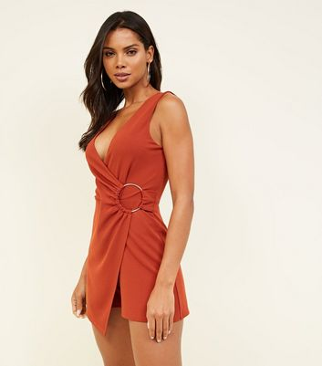 Rust Ring Side Sleeveless Wrap Playsuit